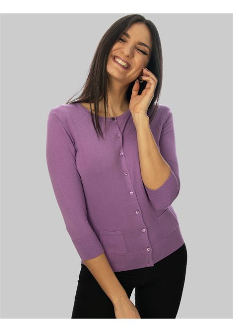 Women's Clothing Colors of the World Cardigan in Wisteria Silk and Cotton Maliparmi | Knitwear | JN21827807451036