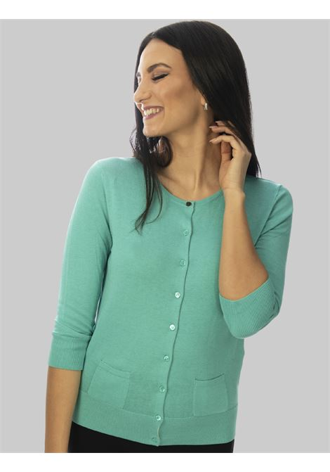 Women's Clothing Colors of the World Cardigan in Turquoise Silk and Cotton Maliparmi | Knitwear | JN21827807482012