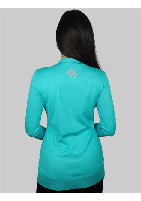 Women's Clothing Sweater Cardigan Colors Of The World in Mixed Silk and Turquoise Cotton Maliparmi | Knitwear | JN30507807482012