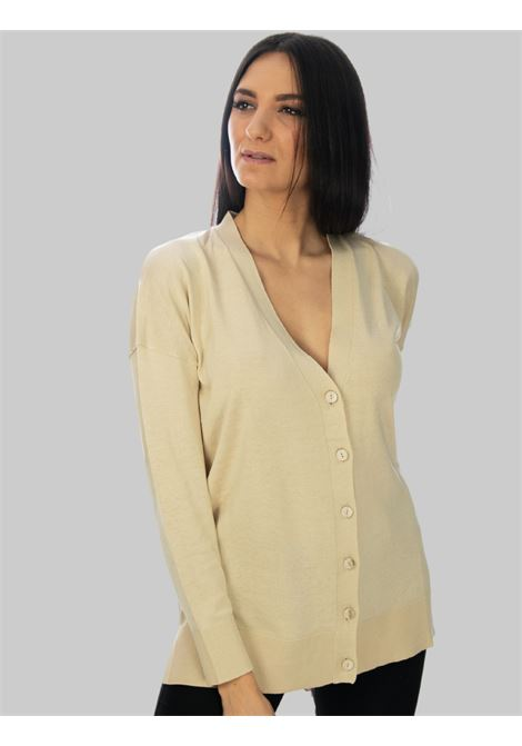 Women's Clothing Colors of the World Cardigan in Silk and Cotton with V-neck Sand Maliparmi | Knitwear | JN34807807411001