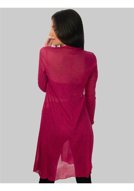 Women's Clothing Long Cardigan in Lurex and Fuchsia Silk Maliparmi | Knitwear | JN35567036534000