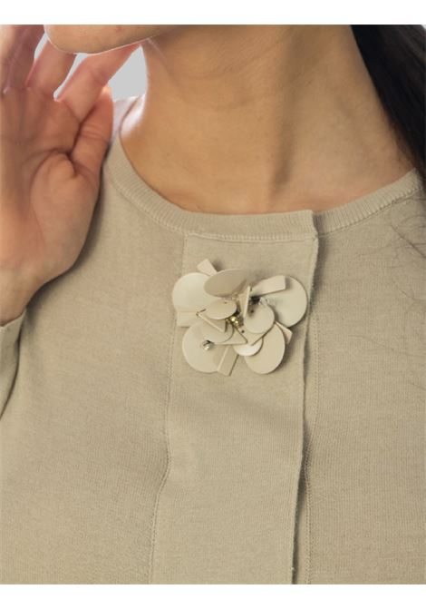 Women's Clothing Short Cardigan Flower Embroidery in Sand Cotton Maliparmi | Knitwear | JN35657050211001