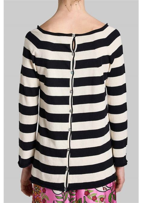 Women's Clothing Sweater Cardigan Bio Cotton with Black and White Stripes Maliparmi | Knitwear | JN35707050020B10