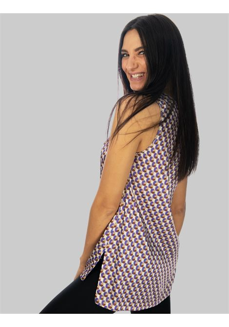 Women's Clothing Long Geometric Twill Top in Beige and Purple Maliparmi | Shirts and tops | JP507960047B1236