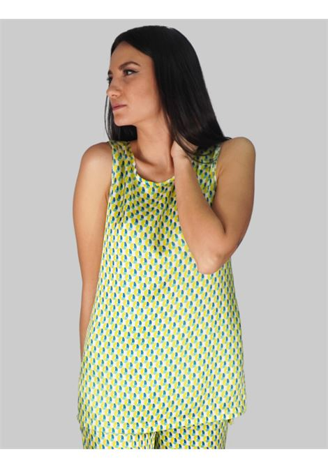 Women's Clothing Long Geometric Twill Top in Green and Lime Maliparmi | Shirts and tops | JP507960047C6026