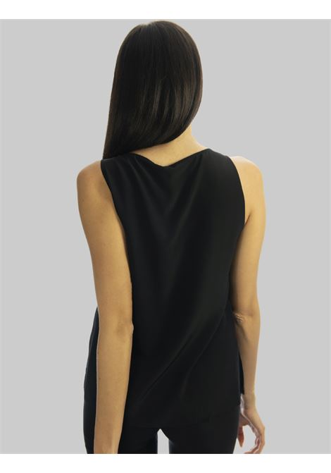 Women's Clothing Top in Black Crepe de Chine Silk with V-Neck Maliparmi | Shirts and tops | JP53183004420000