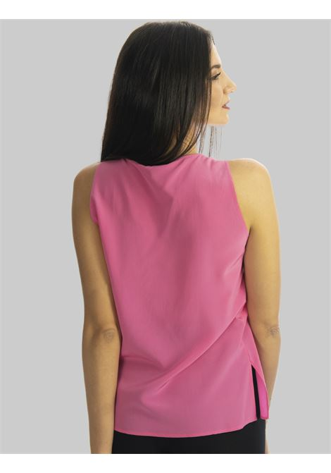 Women's Clothing Pink Crepe de Chine Silk Top with V-Neck Maliparmi | Shirts and tops | JP53183004432000