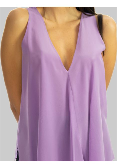 Women's Clothing Top in Wisteria Silk Crepe de Chine with V-Neck Maliparmi | Shirts and tops | JP53183004451036