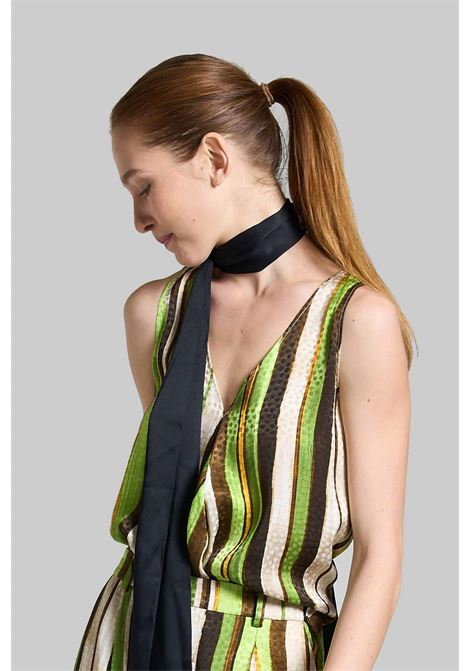 Women's Clothing Top Stripes Jacquard In Green and Natural with V-Neck Maliparmi | Shirts and tops | JP531850557C6022