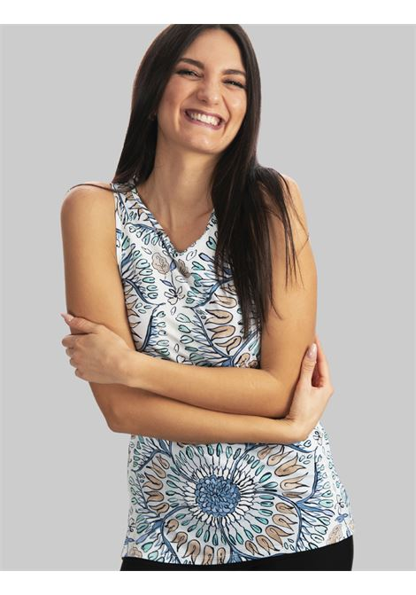 Women's Clothing Top-welcome in Jersey Armhole with Light Blue Pattern Maliparmi | Shirts and tops | JP534870407A1846
