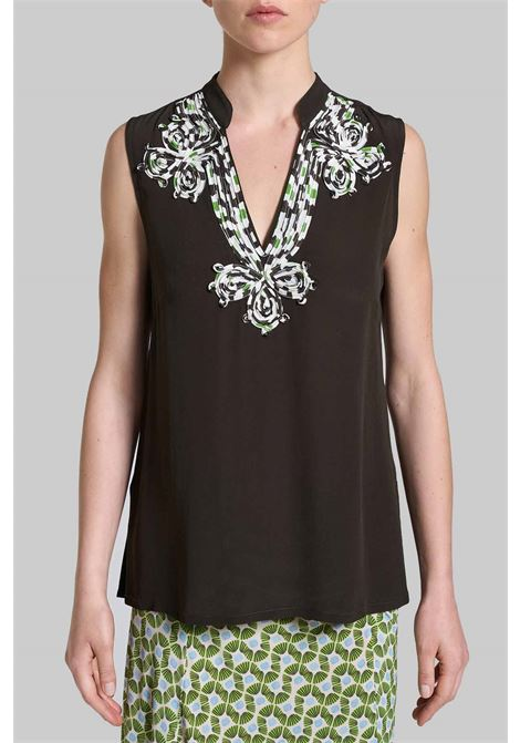 Abbigliamento Donna Top Embroidered in Viscosa Marrone con Scollo Profondo e Ricamato Maliparmi | Camicie e Top | JP53925055440007