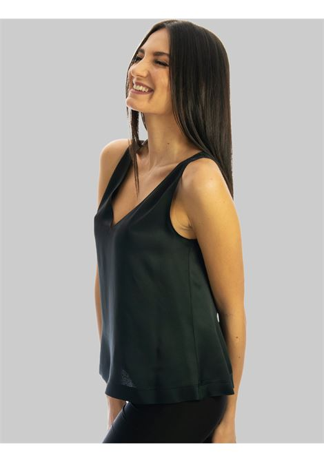 Women's Clothing Top Liquid in Black Cady Armholes with V-Neck Maliparmi | Shirts and tops | JP53945012320000