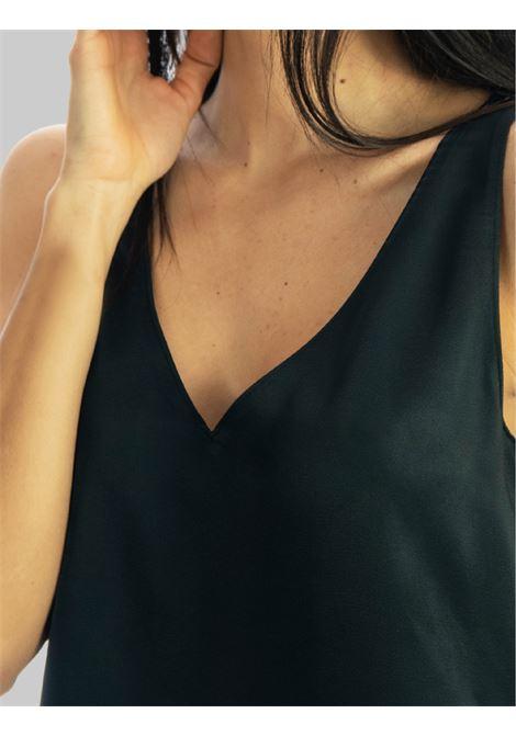 Abbigliamento Donna Top Liquid in Cady Nero Giromanica con Scollo a Punta Maliparmi | Camicie e Top | JP53945012320000
