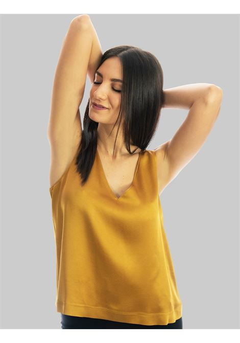 Abbigliamento Donna Top Liquid in Cady Senape Giromanica con Scollo a Punta Maliparmi | Camicie e Top | JP53945012370013