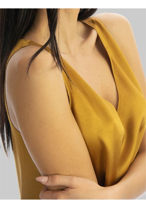 Women's Clothing Top Liquid in Cady Mustard Armhole with V-neck Maliparmi | Shirts and tops | JP53945012370013
