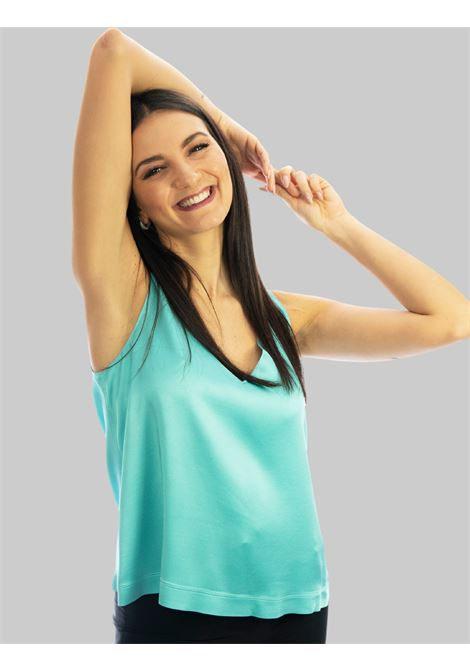 Women's Clothing Liquid Top in Turquoise Cady Armhole with V-Neck Maliparmi | Shirts and tops | JP53945012382012