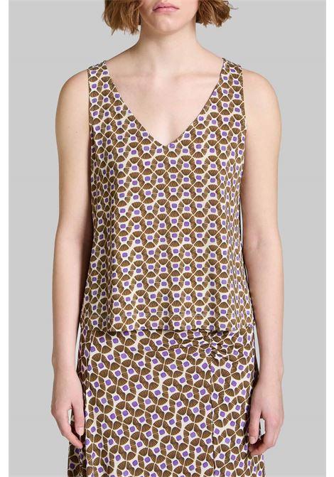Abbigliamento Donna Top Jersey Happy Frame a Fantasia Naturale e Beige Maliparmi | Camicie e Top | JP539470493B1104