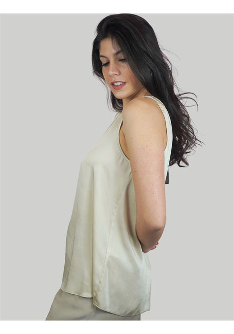 Women's Clothing Flared Top in Sand Cracklè Cady Maliparmi | Shirts and tops | JP54016004511001