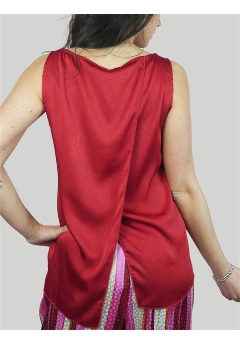 Women's Clothing Flared Top in Red Cady Cracklè Maliparmi | Shirts and tops | JP54016004530032