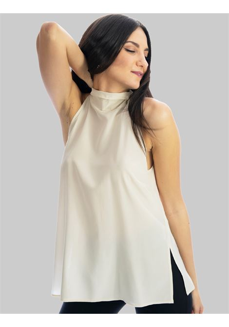 Women's Clothing Crepe de Chine Sand Silk Top with Back Bow Maliparmi | Shirts and tops | JP54043004411001