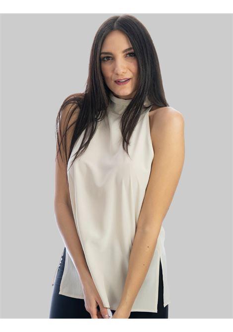 Abbigliamento Donna Top in Seta Sabbia Crepe de Chine con Fiocco Posteriore Maliparmi | Camicie e Top | JP54043004411001