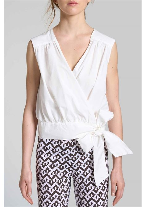 Women's Clothing Soft Poplin Top in Natural White Cotton and Side Bow Maliparmi | Shirts and tops | JP54061014310001