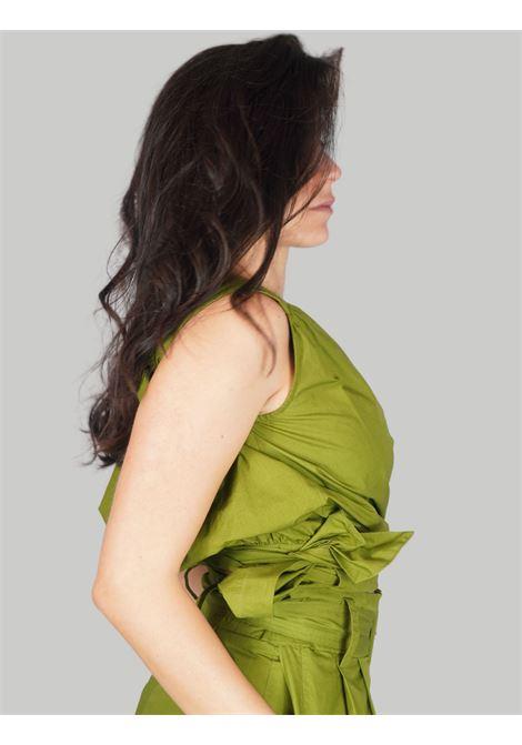 Abbigliamento Donna Top Soft Popeline in Verde con Incrocio sul Seno e Fiocco Laterale Maliparmi | Camicie e Top | JP54061014360024