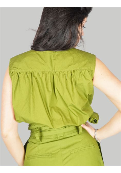 Women's Clothing Soft Popeline Top in Green with Cross on the Bust and Side Bow Maliparmi | Shirts and tops | JP54061014360024