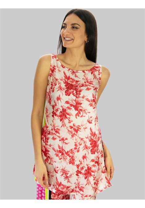 Abbigliamento Donna Canotta Lunga in Seta a fantasia Rosa Collection Print Maliparmi | T-shirt e Canotte | JP540730091B3242