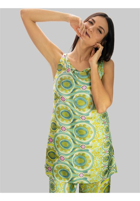 Women's Clothing Long Tank Top in Green Patterned Silk Collection Print Maliparmi |  | JP540730091C6032