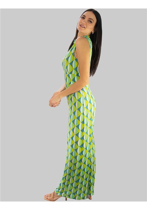 Women's Clothing Long and Wide Jumpsuit in Water Fantasy Symmetria Jersey Maliparmi |  | JU001670496A8208