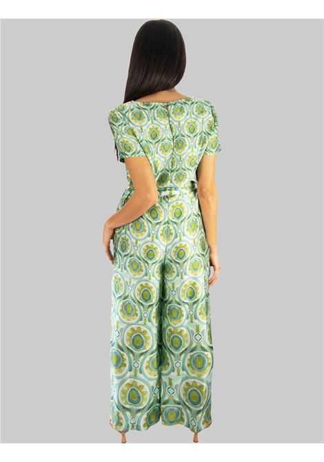 Women's Clothing Long Ottoman Twill Half Sleeve Jumpsuit in Turquoise Maliparmi |  | JU001760046A8207
