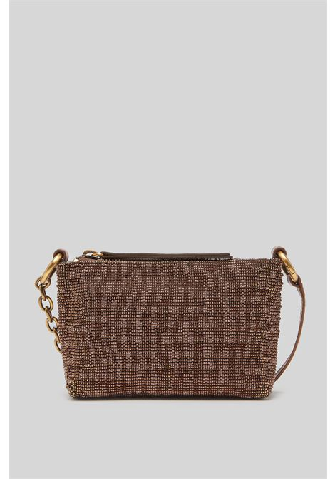 Small Woman Shoulder Bag Pouch Cuts & Beads in Leather and Bronze Beads Maliparmi | Bags and backpacks | OP00829106992000