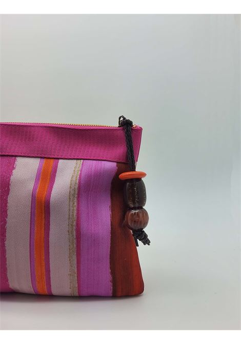 Women's Accessories Pouch Painted Stripes Bag in Pink and Red Cotton Maliparmi | Bags and backpacks | OP008610135B3223