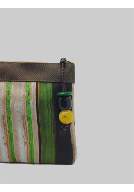 Women's Accessories Pouch Painted Stripes Bag in Green and Natural Cotton Maliparmi | Bags and backpacks | OP008610135C6022