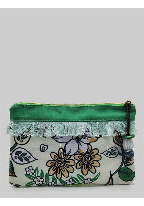 Accessori Donna Borsa Pouch Flower Print in Cotone Verde e Naturale Maliparmi | Borse e zaini | OP008660043B1233