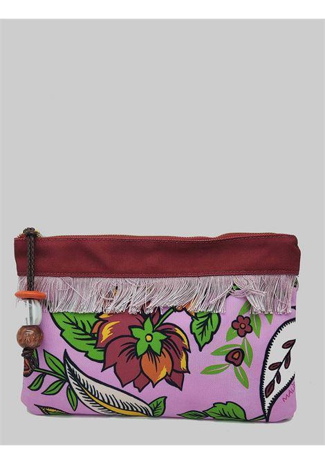 Accessori Donna Borsa Pouch Flower Print in Cotone Rosa e Rosso Maliparmi | Borse e zaini | OP008660043B3219