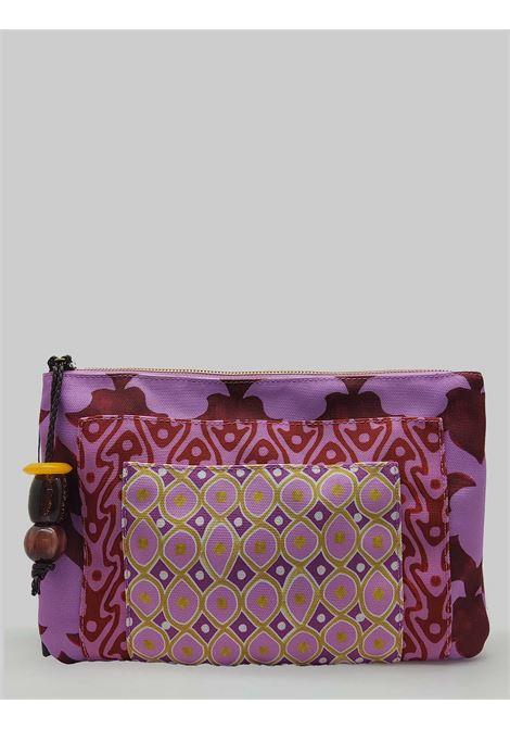 Accessori Donna Borsa Pouch Ceres Diamond Print in Cotone Fuxia e Rosso Maliparmi | Borse e zaini | OP008660044B3227