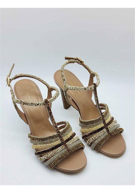 Calzature Donna Sandali Beads Stripes in Tessuto Naturale con Borchie Multicolore Maliparmi | Sandali | SA09309076611B99