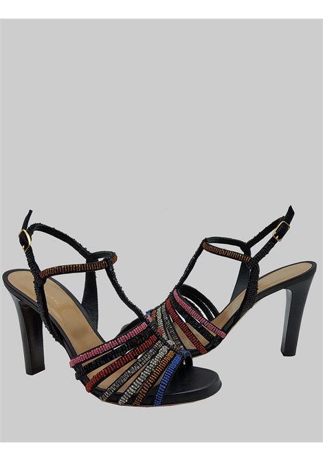 Calzature Donna Sandali Beads Stripes in Tessuto Nero con Borchie Multicolore Maliparmi | Sandali | SA09309076620B99