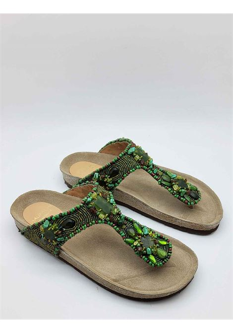 Women's Shoes Sandals Infrabijoux Glamor with Green Stones and Beads and Cork Fusbbett Maliparmi | Sandals | SJ00179101160B40