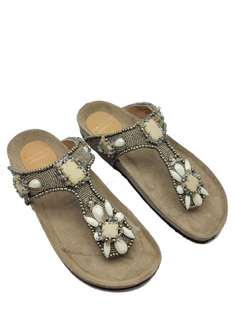 Women's Shoes Sandals Infrabijoux Glamor with Platinum Gray Stones and Beads and Cork Fusbbett Maliparmi | Sandals | SJ00179101196006