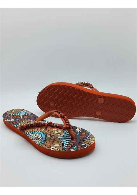 Women's Shoes Flip Flops Sea Summer Breakfast in Rust Printed Rubber with Accessories Maliparmi | Sandals | SX092490779B4067