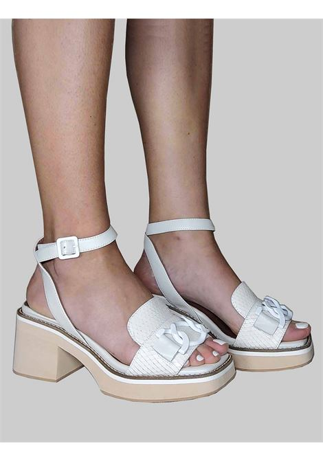 Women's Shoes Sandals with Accessory in Tinted Ivory Leather Wips Print with Heel and Ankle Strap Ultra Light Wedge Manufacture D'Essai |  | 44100