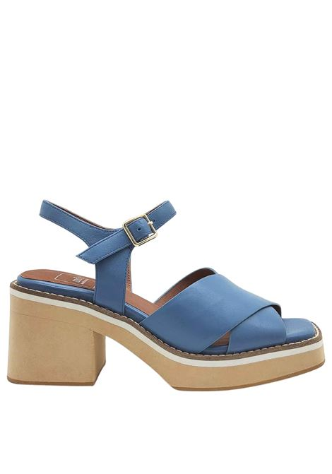 Women's Shoes Blue Leather Sandals with Cross and Ankle Strap on High Wedge Manufacture D'Essai | Sandals | 46026