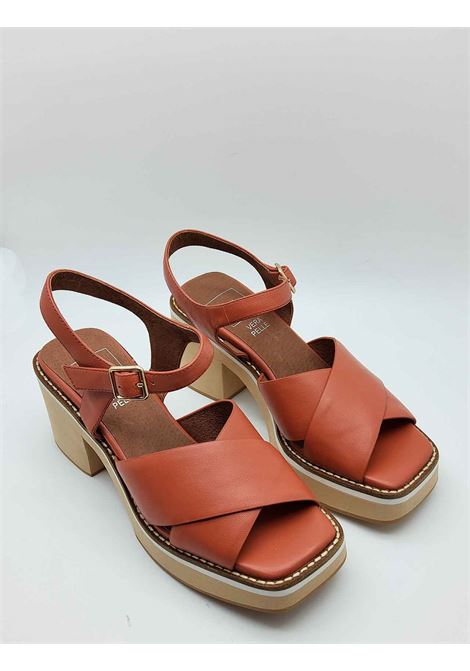 Women's Shoes Terracotta Leather Sandals with Cross and Ankle Strap on High Wedge Manufacture D'Essai | Sandals | 46030