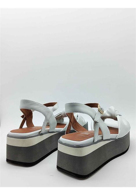 Women's Shoes White Leather Sandals with Knot and Ankle Strap on Bicolor Wedge Manufacture D'Essai | Sandals | 47100