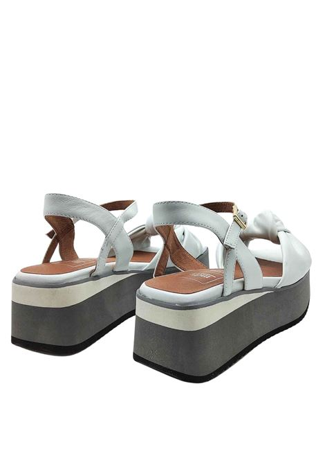 Women's Shoes White Leather Sandals with Knot and Ankle Strap on Bicolor Wedge Manufacture D'Essai | Wedge Sandals | 47100
