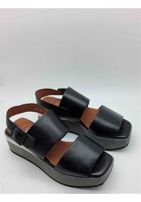 Women's Shoes Black Leather Sandals with Double Band and Heel Strap on Bicolor Wedge Manufacture D'Essai | Sandals | 48001