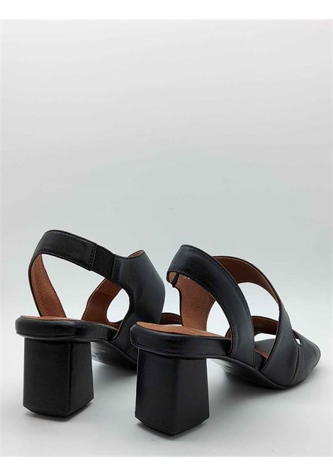 Women's Shoes Sandals in Black Leather with Strap Behind the Heel and Square Toe Manufacture D'Essai | Sandals | E13001